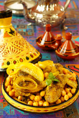 Maroccan Tagine - chicken, chickpeas, preserved lemons