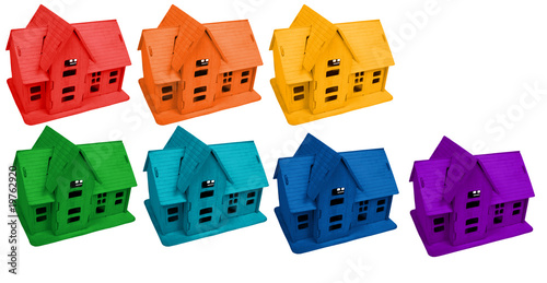 Model of houses in colors of rainbow, collage