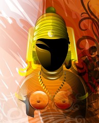 Digital painting of sculpture of a Hindu King