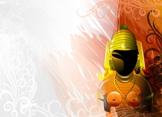 Digital painting of sculpture of a Hindu King.