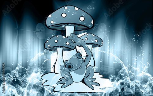 Illustration of mushroom with a toad