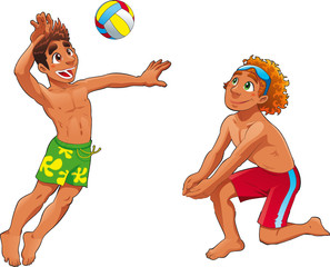 Beach Volley. Funny cartoon and vector sport charactetrs.