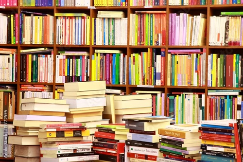 Foto op Canvas Bibliotheek Library, Bücherwand, Buchgeschäft, Buchladen, Spanien