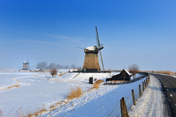 Beautiful winter windmill landscape