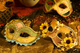 Handcrafted Venetian carnival mask on display at store poster