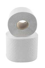 two rolls of toilet paper isolated on white