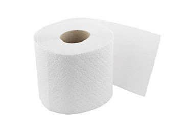 one roll of toilet paper isolated on white