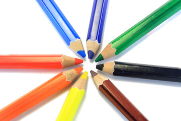 wooden color pens put in circle