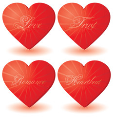 set of 4 hearts with love words