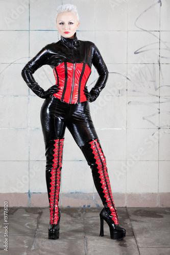 Girl in fetish suit. Famous fetish model Agna Devi