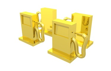 Four gold fuel dispensers