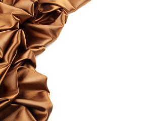Rich golden brown satin fabric on white