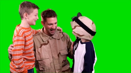 Returning Soldier Laughing with His Sons