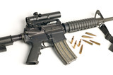 Assault Rifle with Scope & Bullets on White poster