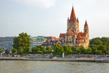 Mexicoplatz church on Danube River, Vienna, Austria poster