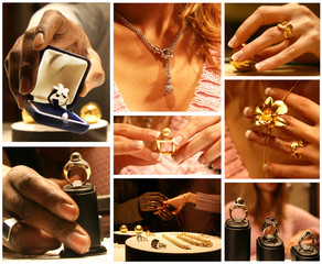 patchwork de bijoux en or argent et pierres précieuses