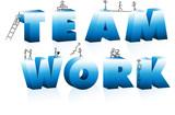 Doodle Cartoons Climbing Word TeamWork. poster
