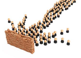 Business Symbols, Brick Wall Crowd