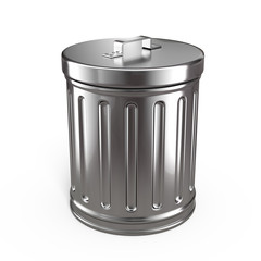 Closed trash can isolated on white