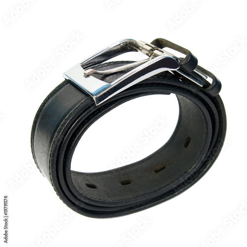 Twisted leather belt with a buckle. Isolated on white background