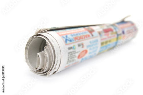 Bunch newspaper. Isolated on white background.