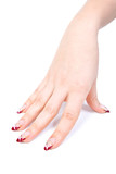 Woman hand with manicured acrylic nails poster