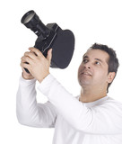 Cameraman isolated on white background poster