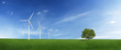Lonely tree and wind turbines on a green field (XXXLarge)