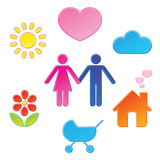 Pictograms which represent young couple poster
