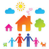 Pictograms which represent family and their surrounding poster