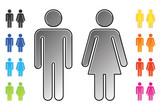 men and women's toilet pictograms poster