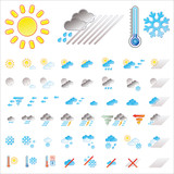 Pictograms which represent weather conditions poster