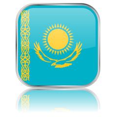 Kazakhstan Square Flag Button (Republic Kazakstan Kazakh Vector)