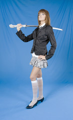 Danger school girl with the Japanese sword