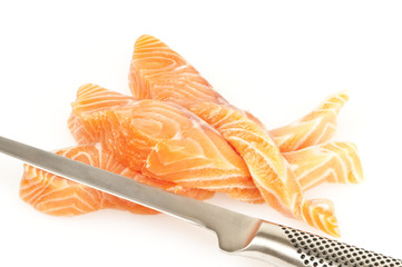 Fresh Fish with knife