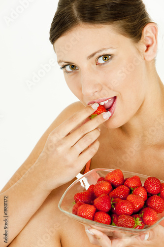 portrait of woman with strawberries