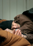 Closeup of Homeless Man Sleeping poster
