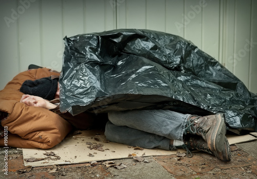 canvas print picture Homeless Man Asleep on the Streets