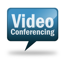 "Speech bubble shaped icon ""Video Conferencing"""