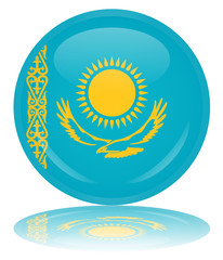 Kazakhstan Round Flag Button (Republic  Kazakstan Kazakh Vector)