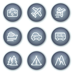 Travel web icons set 1, mineral circle buttons series