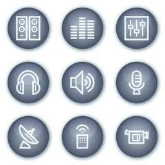 Media web icons, mineral circle buttons series