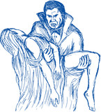 drawing of Count Dracula or vampire carrying his prey poster
