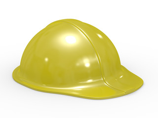 yellow helmet on white background. Isolated 3D image