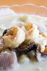 bowl of mixed seafood soup nicaragua