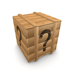 question mark on wooden box