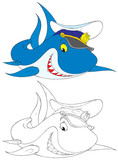 Shark Captain (black-and-white and color illustrations) poster