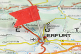 Erfurt on map with red flag pin