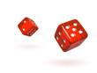 Bouncing Red Semi-Transparent Dice