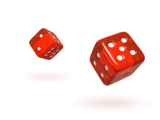 Bouncing Red Semi-Transparent Dice